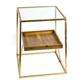 Wood Tray Side Table with Glass Top