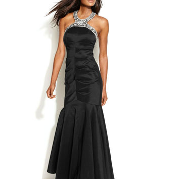 Xscape Embellished Halter Mermaid Gown