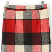 Red Plaid Wool Mini Skirt