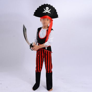 Fashion Kids Caribbean Pirates Cosplay Costume Boys Girls Stage Performance Clothing Set Halloween Dress Party Supplies