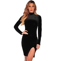 Black Velvet Mock Neck Long Sleeves Dress