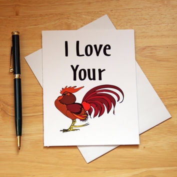 Cock Note Card, Boyfriend Card, Mature Note Card, Adult Card, Mature Humor, Funny, Rooster Card, Blank Card, Sexy Note Card, Naughty Card