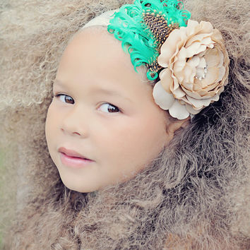 Stunning Children Baby Headband Couture Feather Fascinator Newborn Photography Props Vintage Couture Boutique Toronto Canada
