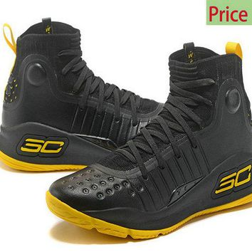 My style Mens Under Armour Curry 4 Mid Basketball Shoes Coal Black Sunny Yellow sneaker