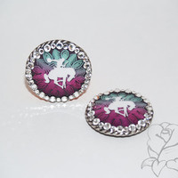 Bling Bronc Conchos- Set of two-Silver 1 & 1/2