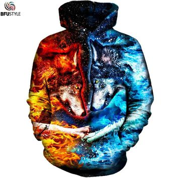 Fire and Ice Wolf Hoodies Men 3D Graphic Pullover Sweatshirt Hoodie 2017 Sportswear Tracksuit Men Casual Hoodie 4XL Dropship