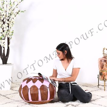 Brown & Pink Leather Pouf, Ottoman Pouf, Leather pouf,