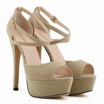British New Fashion Sexy Super High Heels Platform Peep Toe Court Shoes Sandals Ankle Strap Women Shoes