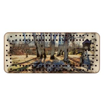 Fall Scene Cribbage Board