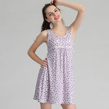Ejqyhqr Casual Beach Dress Women Built In Padded Bra One-piece Sleepwear Nightgown Home Dress Women Summer Floral Nightdress