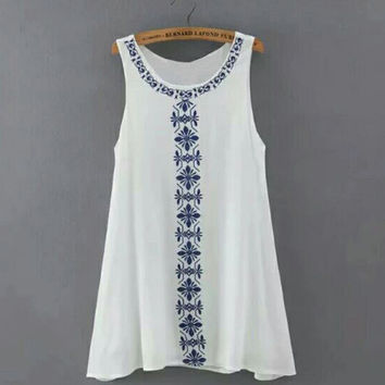 Women Lady Girls Female Designed Embroidery One-piece Dress Summer Casual Loose Sexy Charming Sleeveless Lace Patchwork O Neck Mini Sundress Dress GIFT 08