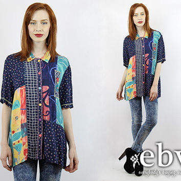 Vintage 90s Patchwork Button Up Blouse S M L Button Down Blouse Hipster Shirt Navy Blouse Abstract Shirt Oversized Blouse