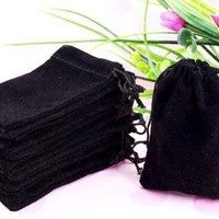 "Generic 50 Pieces Wholesale Lot - Black Velvet Cloth Jewelry Pouches / Drawstring Bags 3"" X 4"""