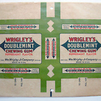 Wrigley's Doublemint Gum Box Wrapper 2 on 1 Sheet Wax Paper 1930's