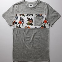 On The Byas - Star Wars Darth Vader Floral Chest Crew T-Shirt - Mens Tee - Gray