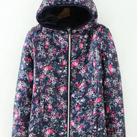 Floral Print Hooded Coat