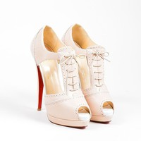 DCCK Nude Christian Louboutin Leather Cut Out Lace Up  Meree 160  Heels