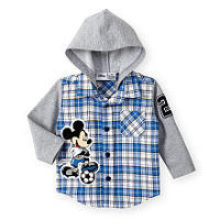 Disney Baby Boys Blue Plaid Long Sleeve Mickey Mouse Hooded Button Up Shirt with Soccer Motif