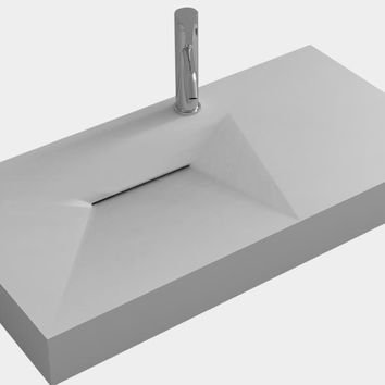 Bathroom Rectangular Wall Hung Vessel Sink Matt Solid Surface Stone Wall Mounted Wash Basin Rs38427