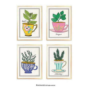 Kitchen herbs wall art set of 4-herbs art prints-kichen wall art-botanical print-herbs spices wall art-home decor-modern print-rustic-NPAG51