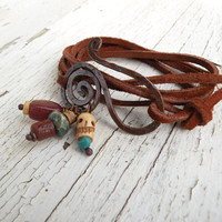 Leather Wrap Bracelet, Tobacco Brown, Hammered Copper, Bone, African Trade and Stones