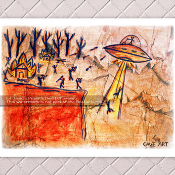 Alien UFO, Tribe Under Attack, Cave Painting Art Print 11x8.5 - Wall Art, Home Decor, Flying Saucer, Space Aliens, Extraterrestrial, Poster
