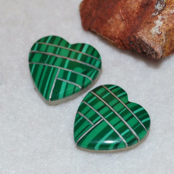 Malachite cabochon, heart cabochon, cabochon pairs, green gemstone, bezel setting, inlay earrings, jewelry supplies, loose gemstones, hearts