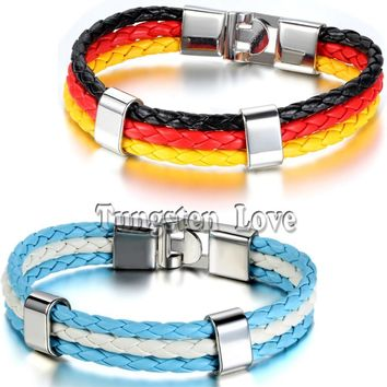 World Cup German Argentina Flag Mens leather Multilayer Braided Bracelets 3 Strands Rope Bangles pulseira couro