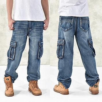 Men Jeans Large Size Loose Big pockets Hip-Hop Casual Wide