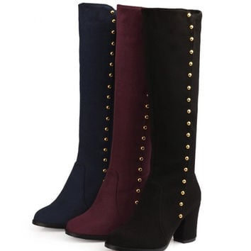 Womens Stylish Bead Knee High Heel Boots