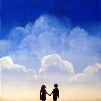 "Beach art ""We found love"" wall canvas art kids landscape painting silhouette art wall art 18x24"" beach decor"
