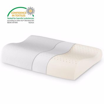 Contoured Dunlop Natural Latex Pillow with 100% Ventilated Latex Core and Breathable Removable Zippered Cover