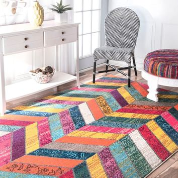 nuLOOM Modern Abstract Patchwork Chevron Multi Rug - 5'3 x 7'7 | Overstock.com Shopping - The Best Deals on 5x8 - 6x9 Rugs
