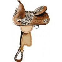 15 inch Double T treeless saddle, treeless saddles with hair on zebra print seat, treeless saddlery accented with silver zebra print conchos