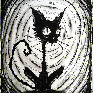 Print 8x10  Black Cat 3  Halloween Cats Stray Spooky by chuckhodi