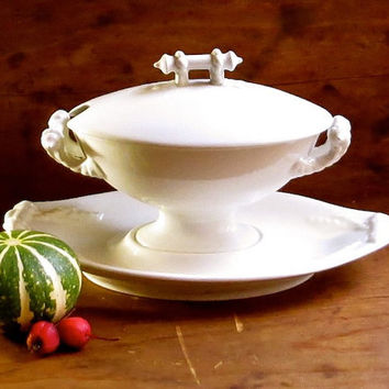 Antique Ironstone Tureen, Bridgewood and Son, Serving Dish, Attached Base, Rope Handles, White Iron Stone, Cottage Holiday Tableware