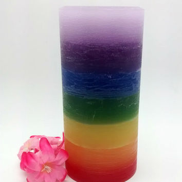 Chakra candle, rainbow candle, lgbt wedding, unity candle, rainbow pride, pillar candle, meditation altar candle, mom gift, teacher gift