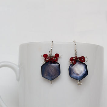 Earrings with Blue Mother of Pearls and Garnet Fire-polished Czech glass beads
