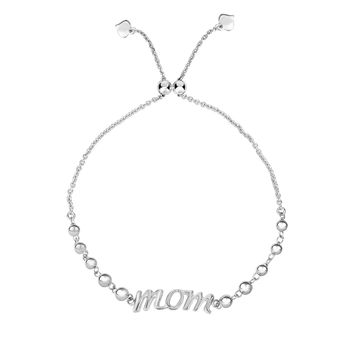Silver Rhodium Finish Bead Stations+Curved MOM Element on Cable Chain Bracelet with Draw  String Clasp
