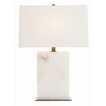 Arteriors Home Carson Rectangular Snow Marble/Vintage Brass Lamp
