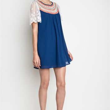Umgee Embroidered Baby Doll Tunic Dress in Indigo with Lace Sleeves