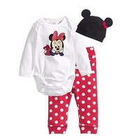 Pyjamas Disney Baby Long Sleeve Cartoon Romper Hat Top Pants Outfit 3pcs