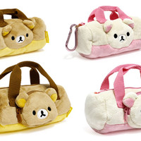 Strapya World : San-X Rilakkuma Plush Mini Boston Pouch (korilakkuma)
