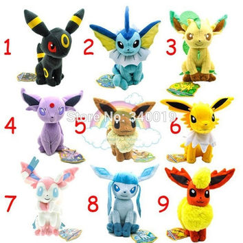 Pokemon eevee plush 1 pcs set 17-21 cm Sylveon Eevee Espeon Jolteon Vaporeon Flareon Glaceon plush toys