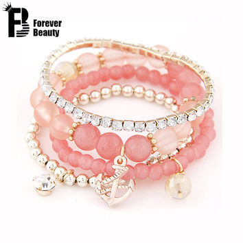 2015 Cool Summer Bohemia Candy Jelly Beads Anchor Crystal Charm Bracelets Bangles Multilayer Beaded  Elastic Accessories Women