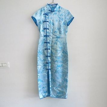 Chinese Traditional Long Satin Qipao, Maxi Chinese Baby Blue dress, Chinese Clothing,  Asian Blue Cheongsam Dress, XS - Small
