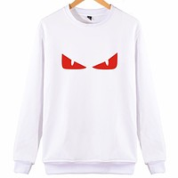 FENDI autumn and winter tide brand classic little devil's eyes personality casual loose round neck sweater White