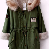 Green Fur Hooded Zipper Embellished Fleece Inside Military Coat | CozBest:lastest womens fashion clothing,shoes,dresses shop online