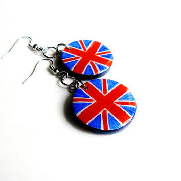 Patriotic England British Jewelry  - Wooden Dangle Earring English Flag Earrings Union Jack Hand Painted