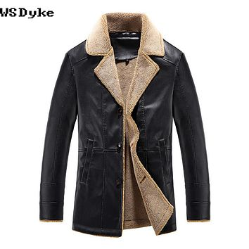 Autumn Casual Thick Turn Down Collar Lining Men Winter Leather Jacket